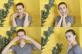 Collage of four portraits of girl — Stockfoto