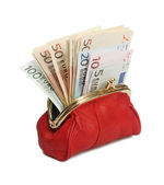 Full red wallet. — Stock Photo