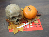 Skull of the person and pumpkin. — Stock Photo