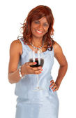 Woman Holding a Glass of Red Wine — Stock Photo