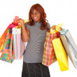 African American Woman on a Shopping Spree — Stock Photo