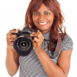 African American Female Photographer Shooting You — Stock Photo