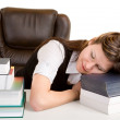 Exhausted Student Sleeping on Her Books — Stock Photo #2031125