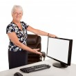 Senior Businesswoman Pointing at a Blank Monitor — Stock Photo #4465933