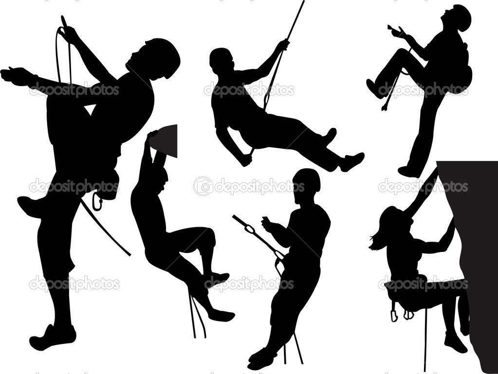 Mountain Climbing Silhouette Rock climbers silhouettes