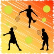 Stock Vector: Tennis kid