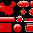 China map,flag and buttons — Image vectorielle