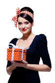 Gorgeous brunette with gift box — Stock Photo