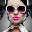 Gorgeous caucasian brunette with sunglasses — Stock Photo #38120575