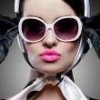 Stock Photo: Gorgeous caucasian brunette with sunglasses