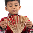 Boy with Japanese Fan — Stock Photo