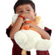 Indian Boy Hugging Toy — Stock Photo