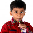 Kid Playing Flute — Stock Photo