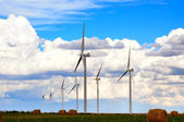 Wind Generators and Hayfields — Stock Photo