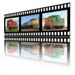 Images of Railroading on a Film Strip — Stock Photo