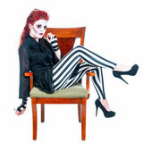 Redhead Zombie Woman Seated — Stock Photo