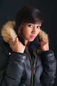 Pretty Young Woman in Fur Parka — Stock Photo