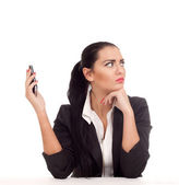 Business woman doesn't want to talk with someone — Stock Photo