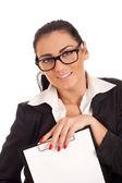 Vrouw met clip boord — Stockfoto