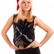 Sexy young blonde woman in Santa hat — Stock Photo