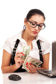 Attractive young businesswoman gives money — Stock Photo