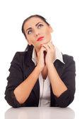 Bir şey hakkında düşünmek iş kadını — Stok fotoğraf