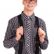 Portrait of a young nerd - Stock Photo