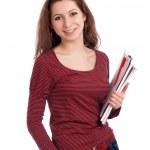 studentka s schránky — Stock fotografie