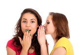 Two women whispering and smiling — Stock Photo
