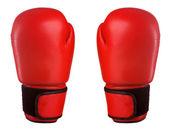 Parą czerwone skórzane rękawice bokserskie — Zdjęcie stockowe