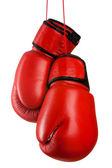 Paar van rood lederen bokshandschoenen — Stockfoto