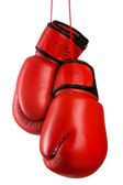 Pair of red leather boxing gloves — Stockfoto