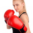 Young beautiful woman with boxing gloves — Stock Photo #22809254