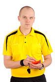 サッカーの審判はレッド ・ カードを書く — ストック写真