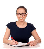 Business woman working with documents — Stok fotoğraf