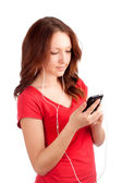 Portrait of student with phone in hands — Stock Photo