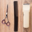 Barber accessories on wooden table — Stock Photo #28874589