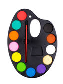 Plastik-palette mit paint — Stockfoto