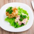 Chicken cutlets with salad on a plate — Stock Photo #29738557