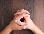Human hands clasped — Stock Photo