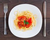 Auf einem teller spaghetti — Stockfoto