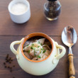 Fresh boiled meat dumplings served with dill — Stock Photo #31053163