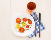 Fried egg on plate — Stock Photo