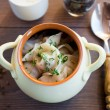 Fresh boiled meat dumplings served with dill — Stock Photo #31544277