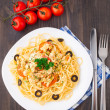 Pasta with chicken brest — Stock Photo