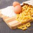 Stock Photo: Flour eggs and pasta