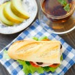 Stock Photo: Breakfast with sandwich, teand melon