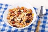 Healthy muesli breakfast with huts and raisin — Stock Photo