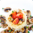 Pasta with cherry tomato and mushrooms — Стоковая фотография