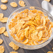 Sugar coated corn flakes with milk — Stock Photo